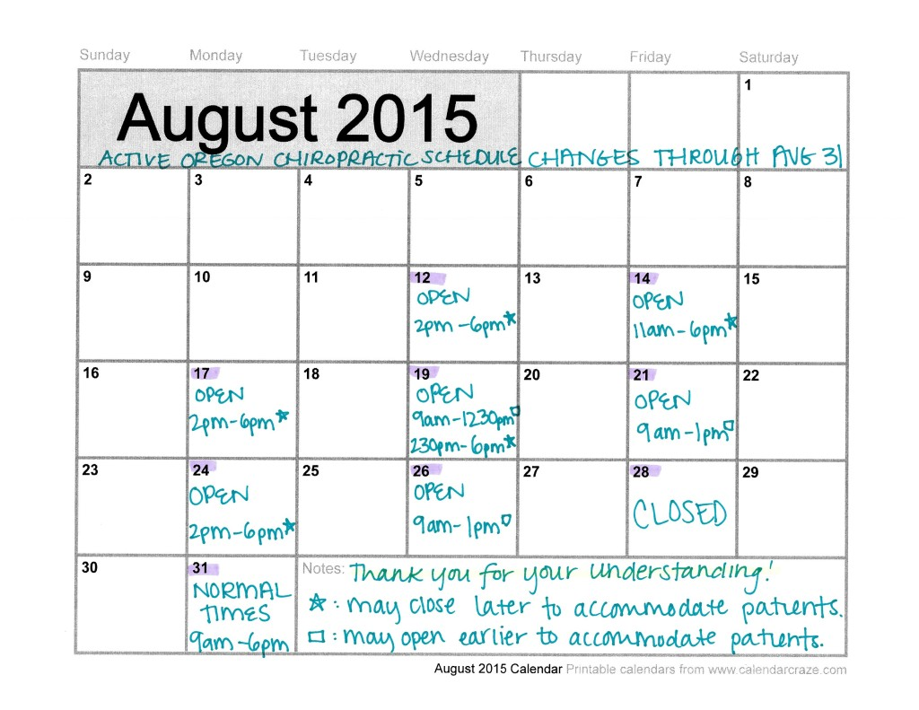 Active Oregon Chiropractic Schedule Changes August 2015